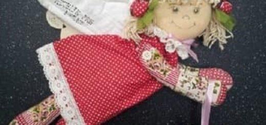 Текстильная подвеска. Девочка АНГЕЛ с валентинкой